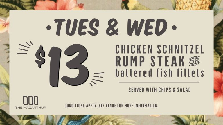 Tuesday's & Wednesday's Chicken Schnitzel, Rump Steak or Battered Fish Fillets