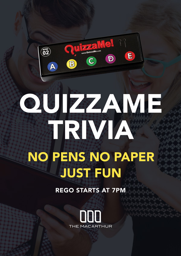 Quizzame Trivia Every Wednesday at Macarthur Tavern